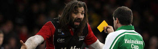 Sebastien Chabal (pictured picking up a yellow card against the Ospreys in January's Heineken Cup tie) is out of Saturday's clash after picking up an injury playing for Sale against Wasps last Sunday