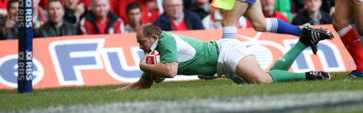 Rory Best scoring against Wales at the Millennium Stadium in last season's Welsh-Irish encounter