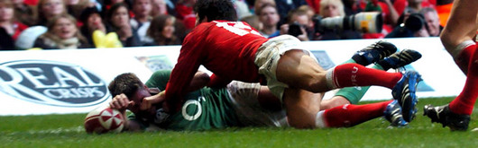 Much to James Hook's dismay, a late Ronan O'Gara try bagged two points for the Irish