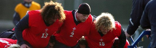 Adam Jones, Rhys Thomas and Duncan Jones prepare the scrummage in training today