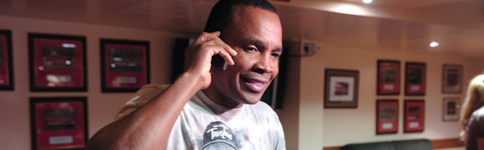Sugar Ray Leonard, over to meet Joe Calzaghe, chats to Stephen Jones on the phone