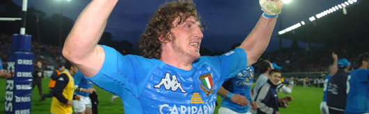 Mauro Bergamasco, seen celebrating Italy's win at the final whistle on Saturday, will appear before a disciplinary committee in London on Tuesday 13th March 2007