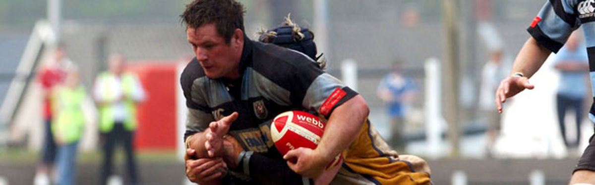 Cardiff Captain Gareth Gravell in Konica Minolta Cup semi-final action against Bridgend