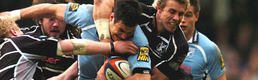 Marshall tackles opposite number Mike Phillips during his man-of-the-match performance