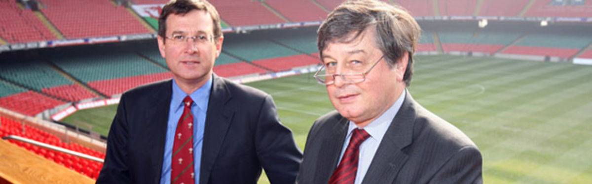 WRU Group Chief Executive, Roger Lewis with the new WRU Head of Legal Affairs, Mike Jefferies