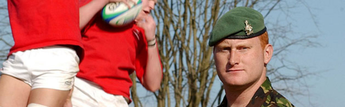 Corporal Gerwyn Taylor gets involves with Wales U19 training