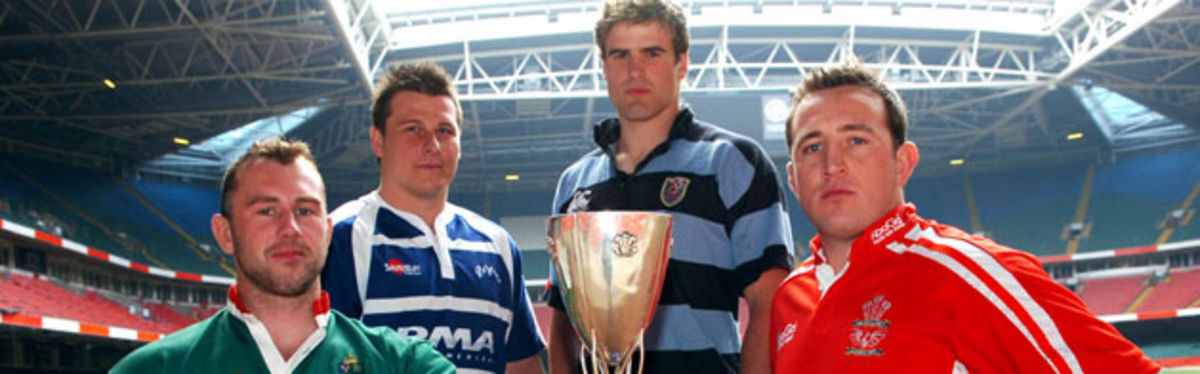 Konica Minolta Cup semi-finalists, from left to right; Arwel Davies, Leighton Thomas, Jamie Roberts and Chris Rowe