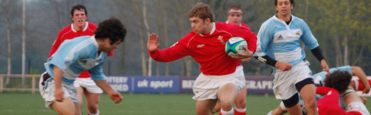 Leigh Halfpenny prepares to hand off an Argentine attack during Wales's 29-0 victory
