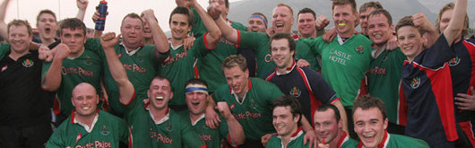 Llandovery celebrate becoming the twelfth team to reach the final of the Konica Minolta Cup