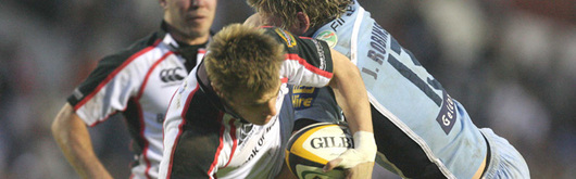 Tommy Bowe is tackled by Jamie Robinson in last season's Magners League