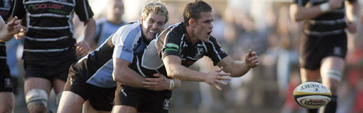 Lee Byrne is tackled by Rory Lamont in the Ospreys' defeat to Glasgow at Hughenden on Friday