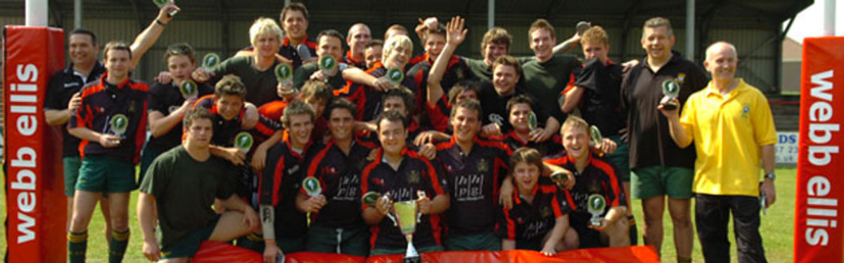 Bridgend Athletic Youth celebrate their victory over Waunarlwydd Youth in the Webb Ellis Youth Cup