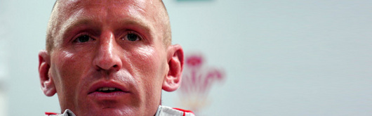 Gareth Thomas during yesterday's Wales Team press conference