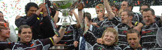 The Ospreys celebrate winning the Magners League