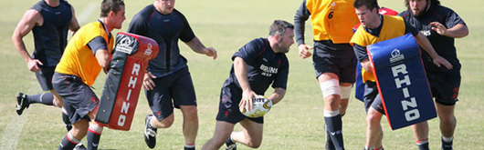 Mefin Davies in Wales training today in Australia with Lee Byrne and Ceri Sweeney