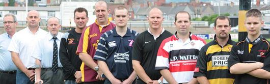 Representatives of the Gwent rugby clubs who are taking part in the Uskmouth Power Men of Gwent Sevens tournament