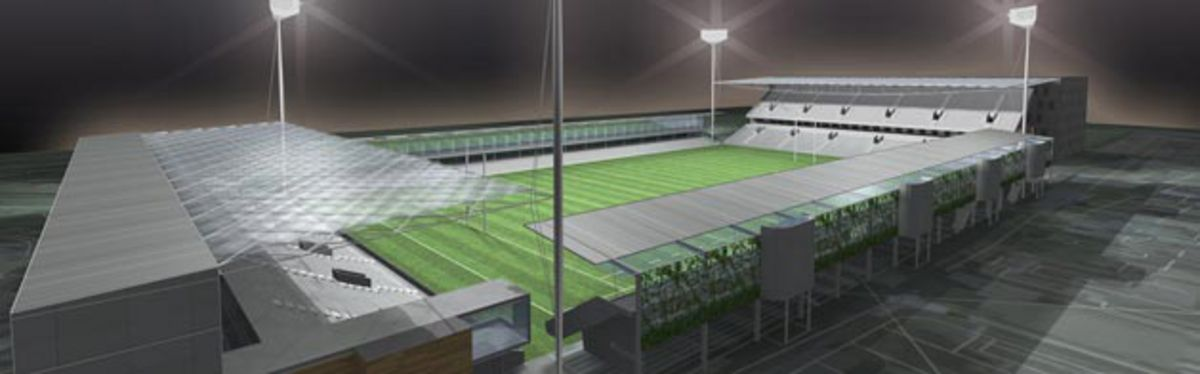An artist's impression of the soon to be revamped Rodney Parade rugby ground
