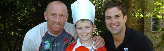 Wales captain Gareth Thomas and Blue Peter presenter Gethin Jones with competition winner Jake Sawyers
