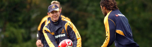 Stephen Larkham training with the Wallabies before last November's Wales v Australia clash