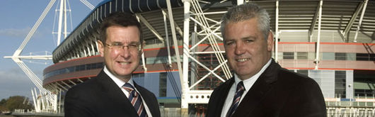 New Head Coach Warren Gatland with WRU Group Chief Executive Roger Lewis outside the Millennium Stadium