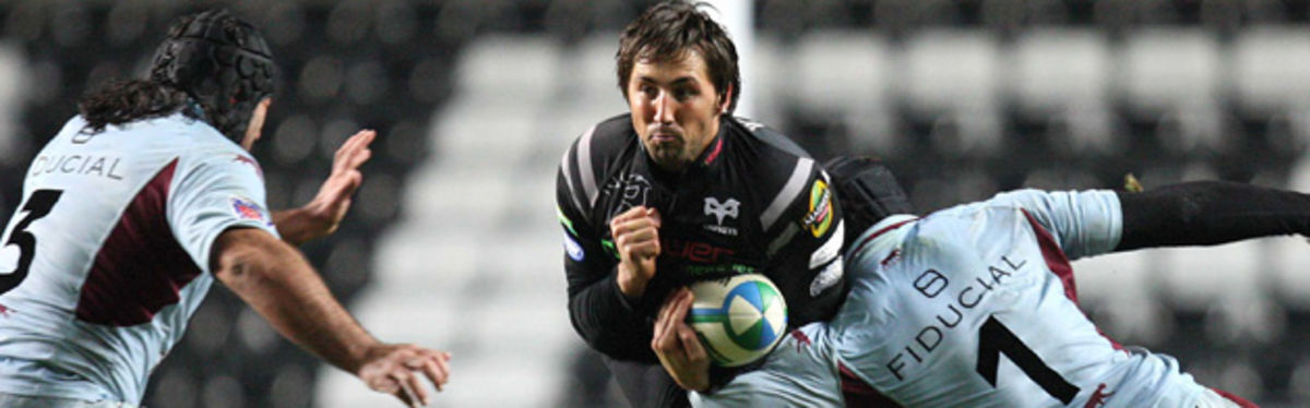 Gavin Henson takes on Bourgoin's Olivier Sourgens and Arnaud Tchougong in the Heineken Cup clash in November
