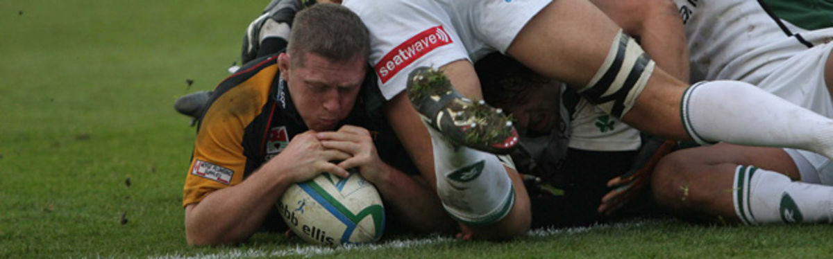 Steve Jones grounds the ball in the Dragons' last Heineken Cup outing against London Irish