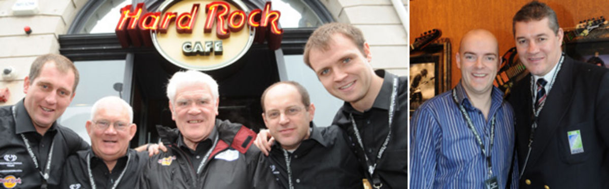 Millennium Stadium tour guides Gareth Pearce, Mike Gibbons (Tours Manager), Bill Lee, Dave Thompson and Gareth Bale / Hard Rock Cafe Cardiff Manager Chris Fletcher with WRU Chairman David Pickering