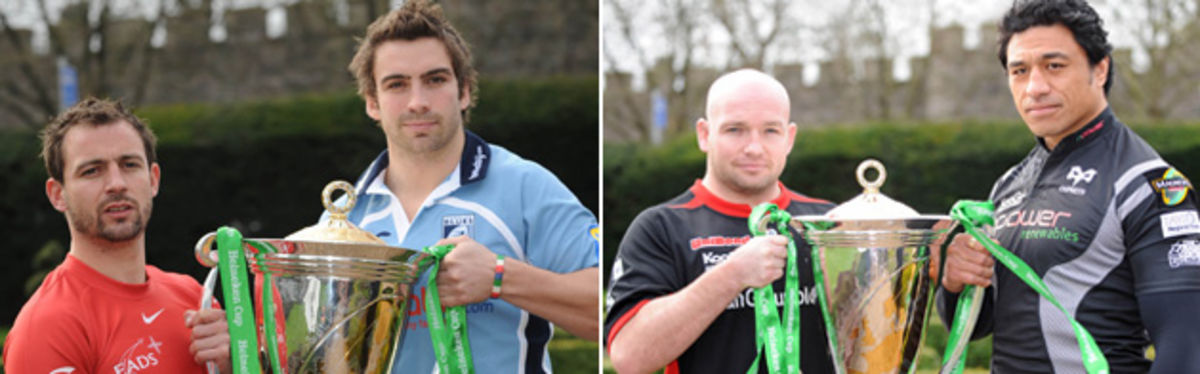 Blues' Nick Robinson with Toulouse's Jean-Baptiste Elissalde, and Saracens' Matt Cairns with Ospreys' Filo Tiatia