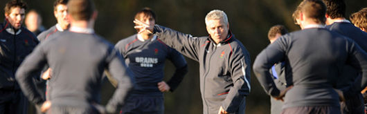 Wales Head Coach Warren Gatland during a Wales training session