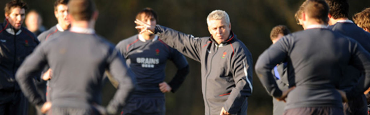Warren Gatland makes a point during a Wales training session last week