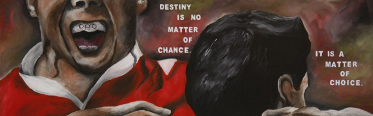 Rianna Lane's painting that she presented to Wales Captain Ryan Jones ahead of the RBS Six Nations clash with England