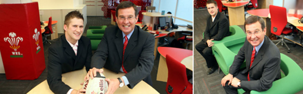 WRU Group Chief Executive Roger Lewis and Stephen Price, Account Manager at Bbi, in the new WRU office