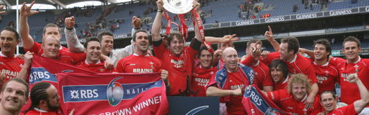 Wales celebrate securing the Triple Crown at Croke Park