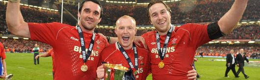 Jonathan Thomas, Martyn Williams and Ryan Jones celebrate winning the 2008 RBS Six Nations