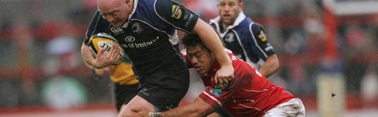 Mahonri Schwalger tackles Leinster's Bernard Jackman in a Magners League clash this season