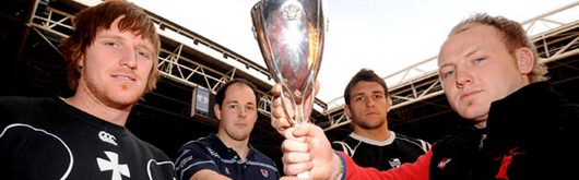 Neath's Lee Beech, Wanderers' Gareth Knight, Pontypridd's Gavin Dacey and Aberavon's Mark Breeze with the Konica Minolta Cup trophy at the Millennium Stadium