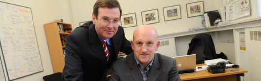 Shaun Edwards signs a three year contract with the Welsh Rugby Union as Group Chief Executive Roger Lewis looks on