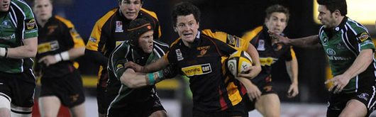 Rhodri Gomer-Davies makes a break against the Connacht defence at Rodney Parade