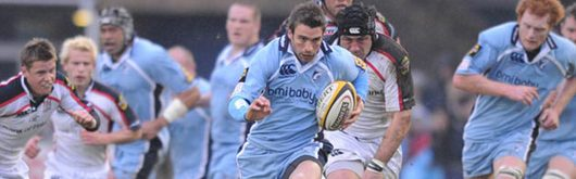Nicky Robinson makes a break for the Cardiff Blues in the clash with Ulster at the Arms Park