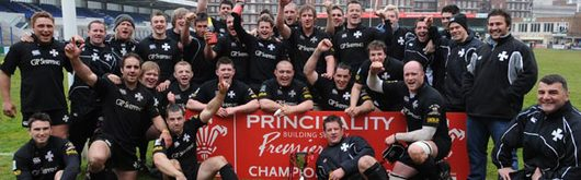 Neath celebrate winning the 2007–2008 Principality Premiership title