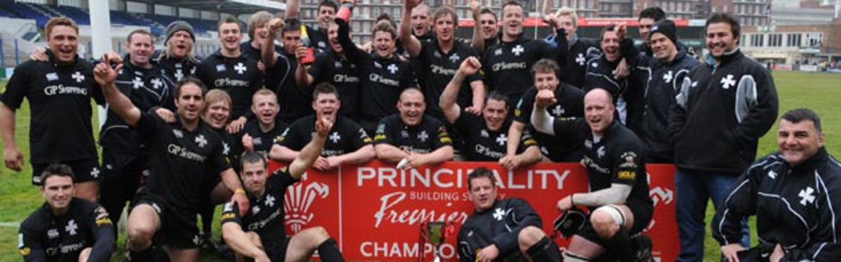 Principality Premiership champions Neath celebrate their fourth successive title