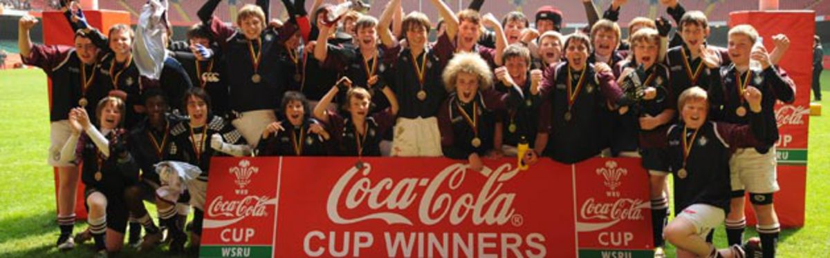 Gowerton U14 celebrate winning the U14's Coca-Cola Schools Cup Final