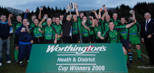 Cimla celebrate with the Worthington's Neath & District Cup