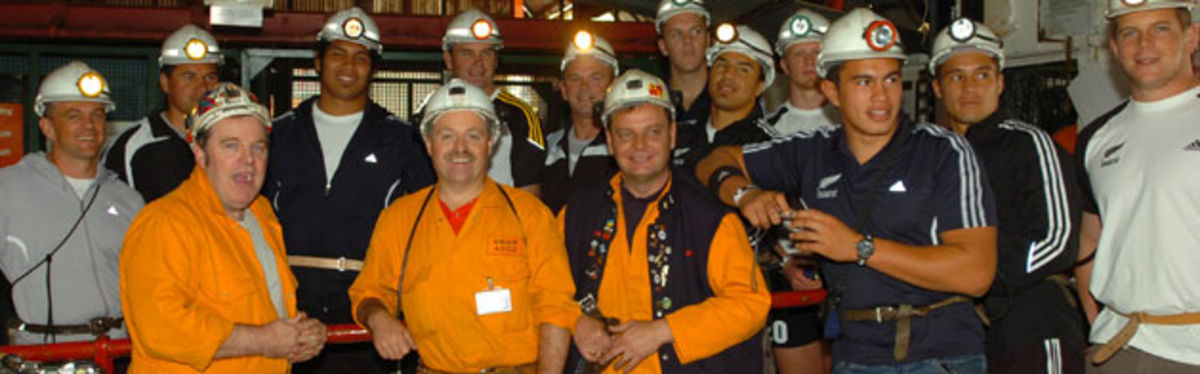 The New Zealand U20 squad at Blaenavon's Big Pit