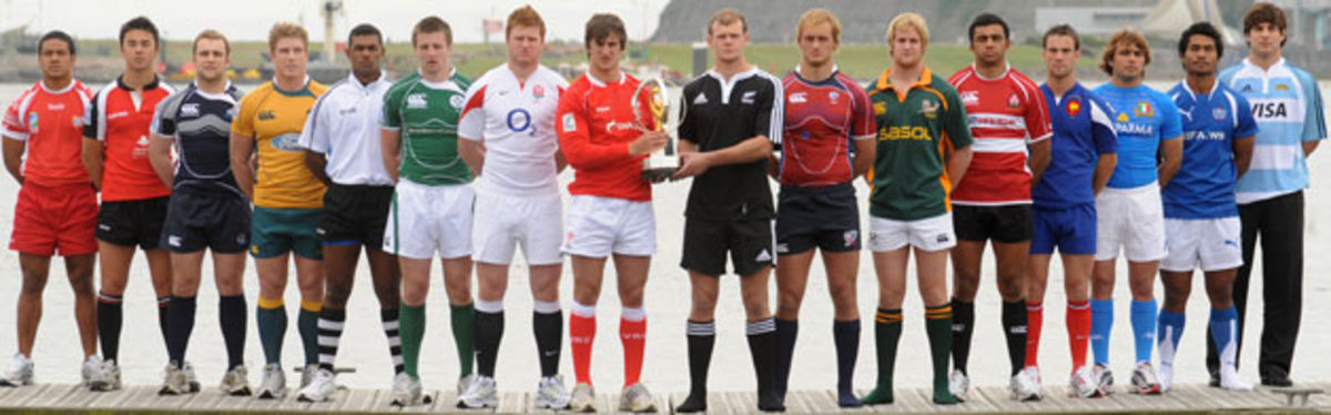 U20 captains of the sixteen participating teams at the official launch of the inaugural IRB Junior World Championship