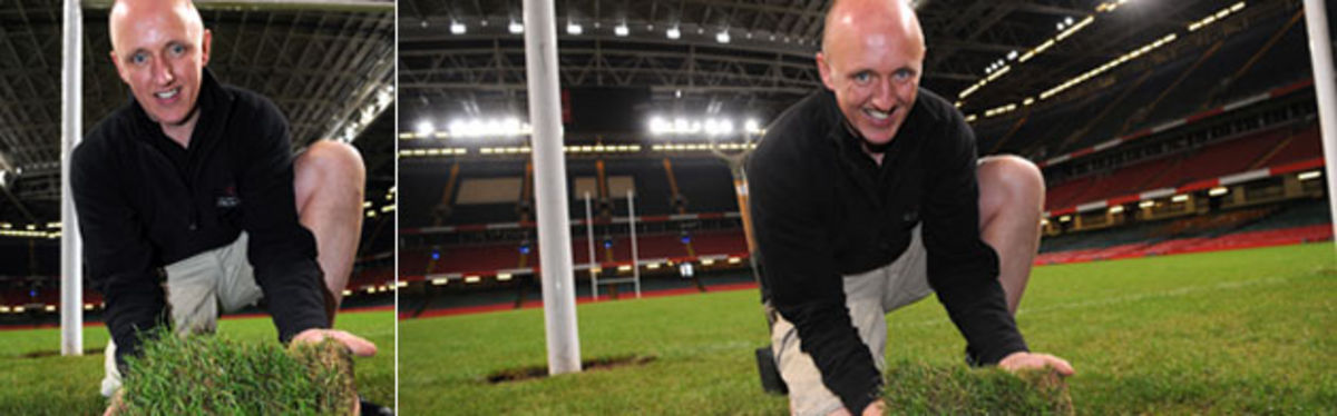 Millennium Stadium groundsman Lee Evans with the historic turf that is going on sale