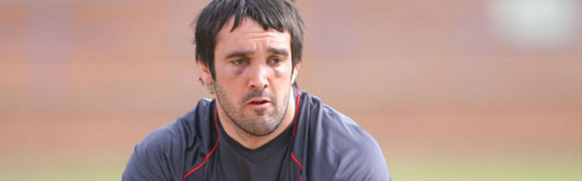 A bruised Jonathan Thomas takes part in yesterday's training session in Pretoria