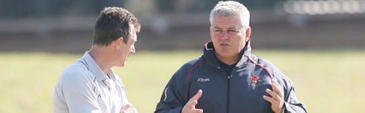 Wales Head Coach Warren Gatland and Assistant Coach Rob Howley during a training session in Pretoria