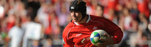 Wales wing Leigh Halfpenny runs in a try for Patrick Horgan's men at the Liberty Stadium