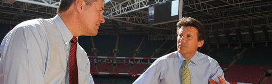 Chair of the London 2012 Organising Committee Lord Sebastian Coe talks to WRU Chairman David Pickering at the Millennium Stadium
